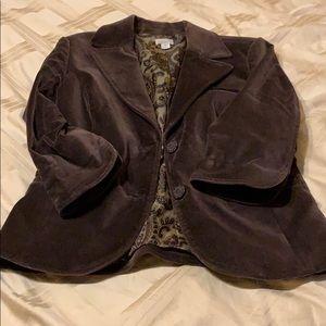 Chocolate velvet 3/4 sleeve blazer